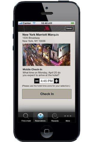 Marriott's mobile check-in app is available for iOS and Android.