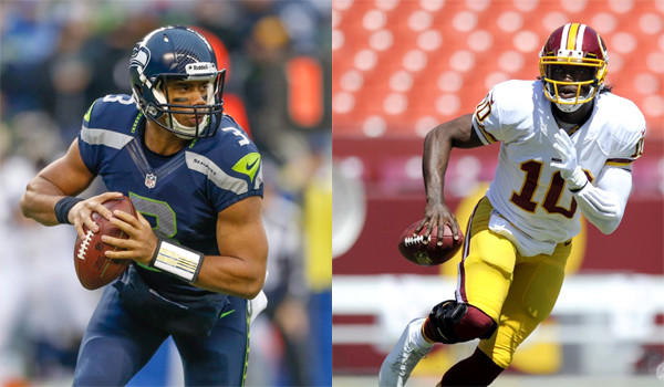Second-year quarterbacks Russell Wilson, left, and Robert Griffin III, right, will look to take their respective teams to the playoffs.