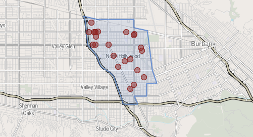 Map shows homicides reported in North Hollywood since 2007.