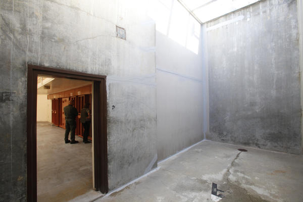 The concrete exercise area for inmates in segregation cells at Pelican Bay State Prison. California prisoners have waged a hunger strike in protest of the indefinite use of solitary confinement.