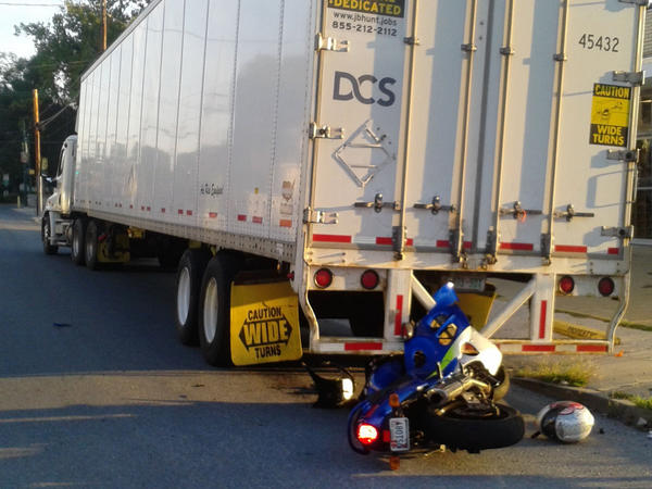 The driver of this motorcycle was taken to Meritus Medical Center after crashing into the rear of a parked tractor-trailer on Frederick Street in Hagerstown on Thursday morning.
