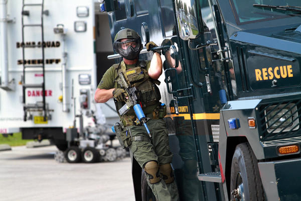 Broward Sheriff's SWAT team during a 2013 drill at Pompano Beach High School.