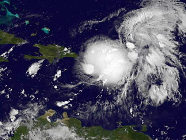 NOAA's GOES-East satellite captured tropical storm Gabrielle in this image on September 5, 2013, courtesy of NASA.