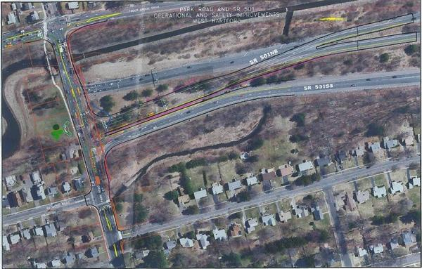 The black outlines show the proposed changes to the ramps and street width at the I-84 interchange on Park Road in West Hartford. New lanes configurations are also shown.