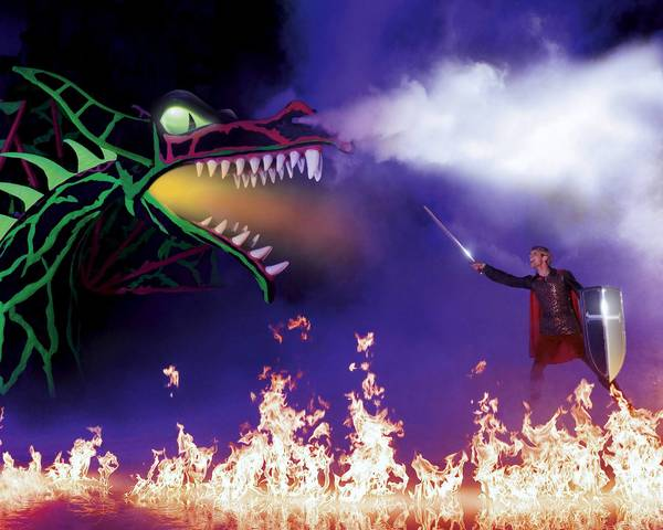 "Prince Phillip takes on a ferocious dragon in ""Princesses and Heroes."""