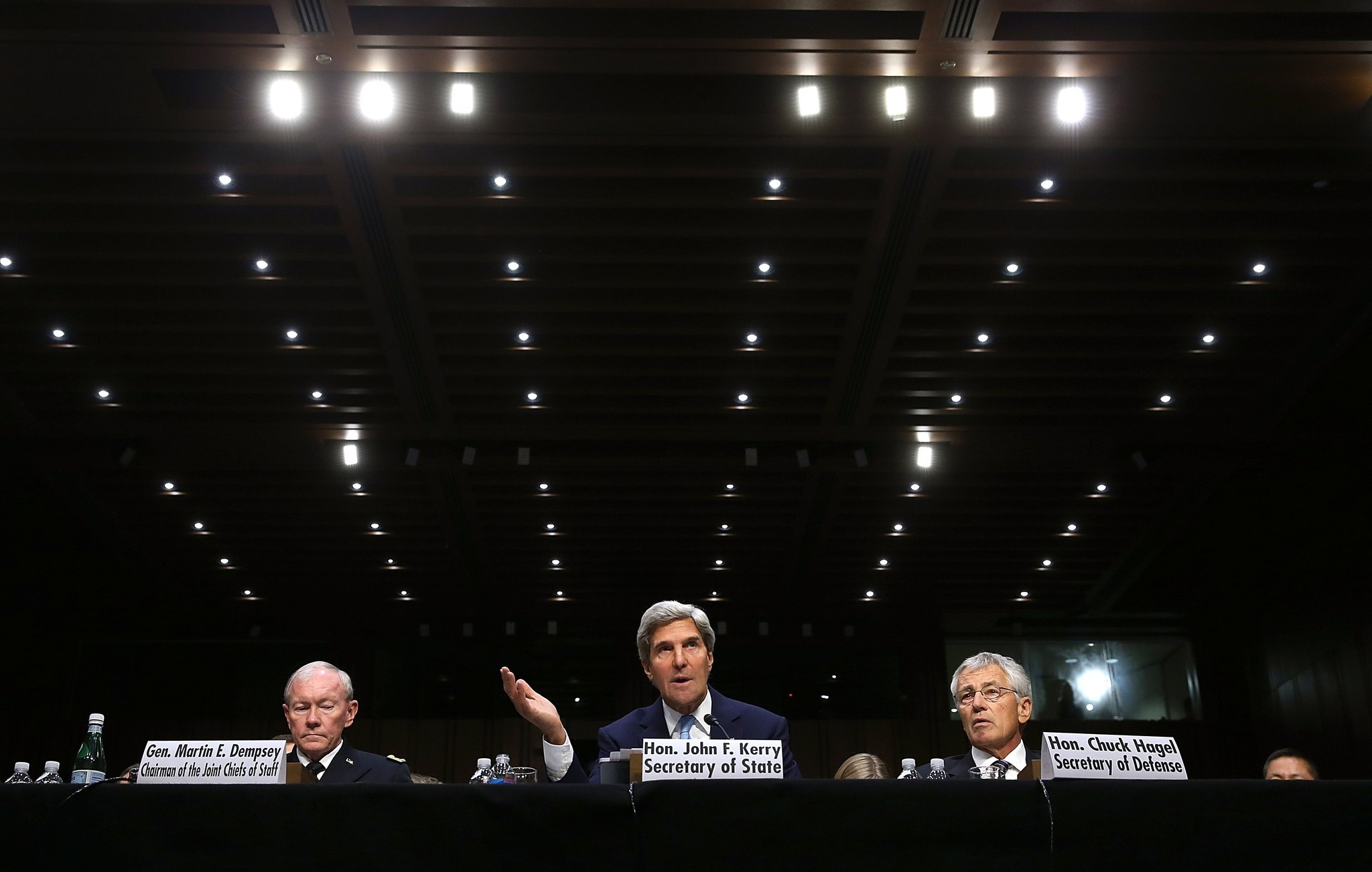 Debate over  strikes on Syria - Dempsey, Kerry and Hagel