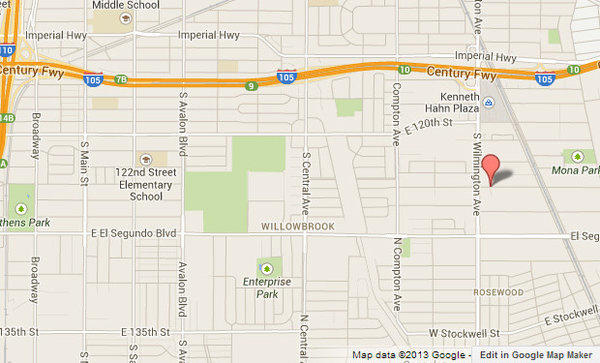 Approximate location, shown in red, where one person was killed and two were wounded in a shooting.