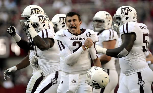 Texas A&M quarterback Johnny Manziel celebrates a play last November.