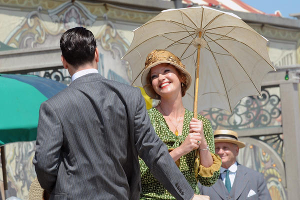 """Gretchen Mol, right, and Ron Livingston on the set of """"Boardwalk Empire"""" on August 2, 2013 in New York City."""