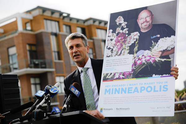 "The Mayor of Minneapolis, R.T. Rybak, unveils a new print and digital ad campaign at the Center on Halsted in Chicago called ""I Want to Marry You in Minneapolis"" that will run in Chicago-area publications, inviting same-sex couples from Chicago to travel to Minneapolis to get legally married."