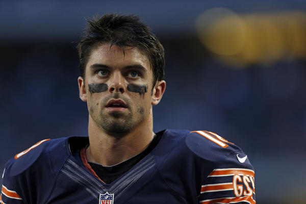 Former Chicago Bears wide receiver Dane Sanzenbacher (18) before facing the Dallas Cowboys on Monday, Oct. 1, 2012 at Cowboys Stadium.