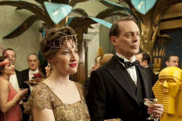 "Kelly Macdonald as Margaret Thompson and Steve Buscemi as Nucky Thompson in a scene from last season's ""Boardwalk Empire,"" whose fourth season begins Sunday."