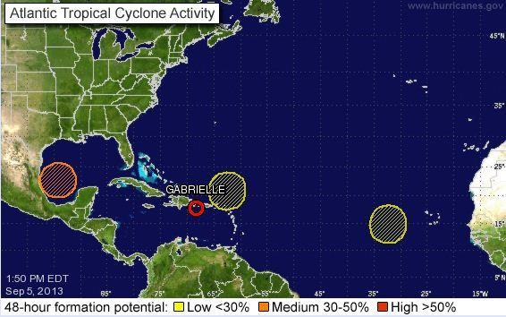 Tropical Storm Gabrielle has weakened to a tropical depression, but three other disturbances could form into tropical cyclones.