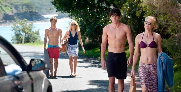 "Xavier Samuel, left, Naomi Watts, James Frecheville and Robin Wright star in ""Adore."""