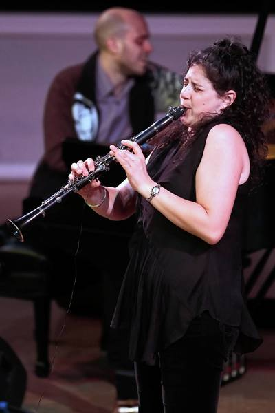 Anat Cohen performs at the Symphony Center in Chicago. Anat Cohen was backed by band members Jason Lindner, piano, Omer Avital, bass, and Obed Calvaire on drums.