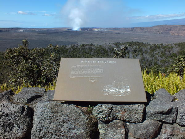 "The Volcano House lodge sits on the edge of the Kilauea volcano. A sign, erected along a walkway behind the hotel, carries a quote from Mark Twain, one of its most-famous guests. ""The smell of sulfur is strong, but not unpleasant to a sinner,"" he wrote."
