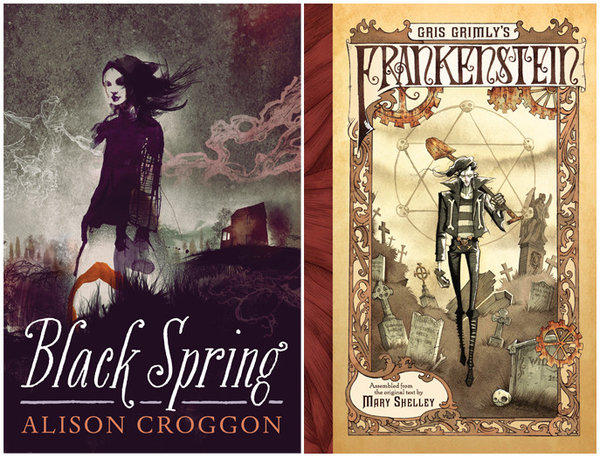 """The covers of the books, """"Black Spring"""" and """"Gris Grimly's Frankenstein."""""""