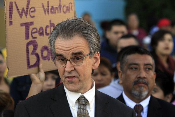 Teachers union president Warren Fletcher, shown here at 2012 rally, announced Thursday that the union had filed allegations of unfair labor practices against the Los Angeles Unified School District.
