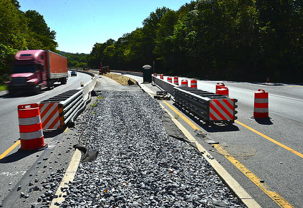 The center median is being reconstructed to allow vehicles to turn left onto Keep Tryst Road from westbound U.S. 340.