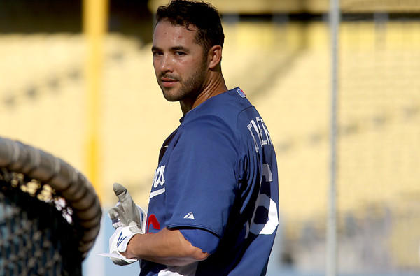 Dodgers right fielder Andre Ethier gets ready to play against the Boston Red Sox last month.