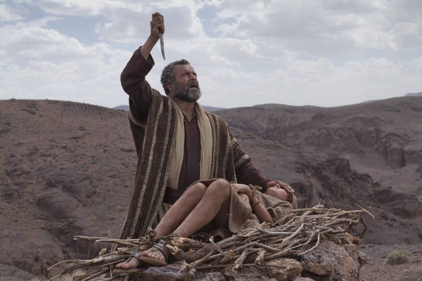 """A scene from """"The Bible,"""" the 10-hour, five-part docudrama that aired on the History channel in 2012. Above: Abraham (Gary Oliver) prepares Isaac (Hugo Rossi) for the sacrifice."""