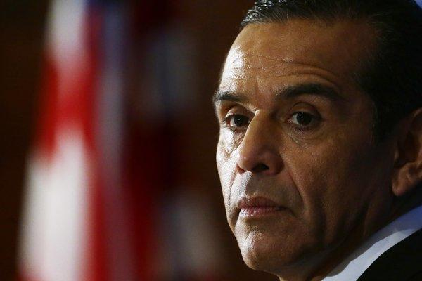 Former Los Angeles Mayor Antonio Villaraigosa listens to a question as he speaks at the National Press Club in Washington.