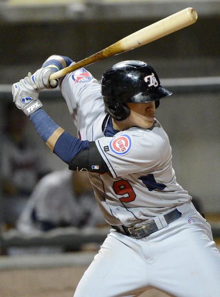 Tennessee Smokies shortstop Javier Baez bats during a Southern League playoff game against the Birmingham Barons.