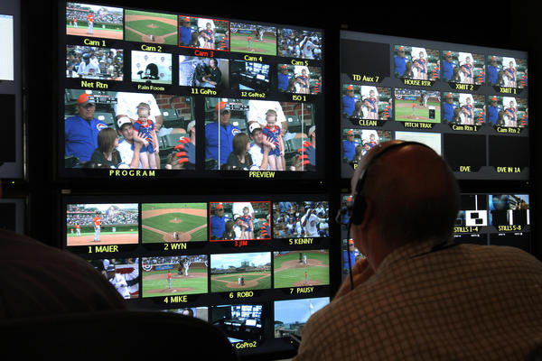 Just a small portion of monitors in the Trio Video trailer outside Wrigley Field where the WGN Sports technical crew produce the Cubs' telecasts.