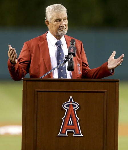 Former Angels second baseman Bobby Knoop speaks during his Hall of Fame induction ceremony Thursday night in Anaheim.