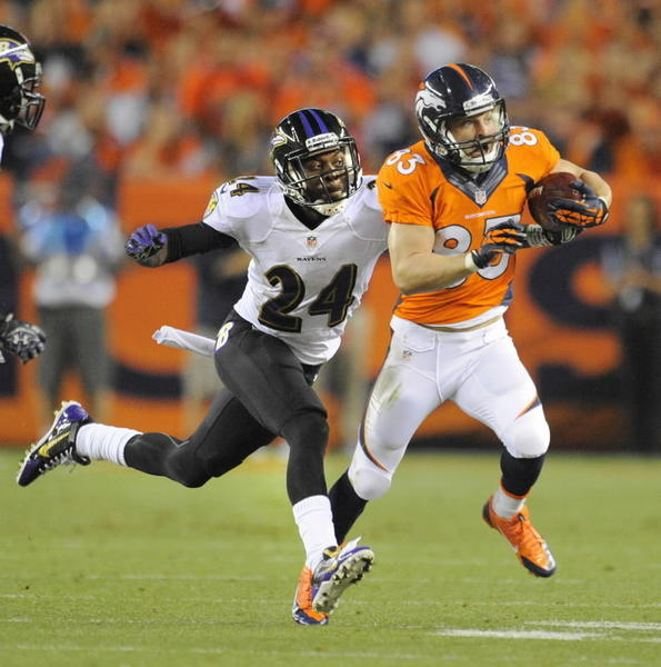 The Baltimore Ravens' Corey Graham chases the Denver Broncos' Wes Welker in the first quarter.