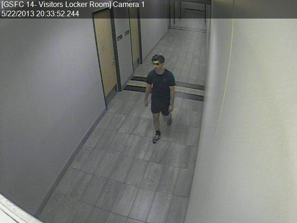 A surveillance video image of a man thought to be a peeping suspect in Gilbert Sports Arena at Cal Lutheran University.