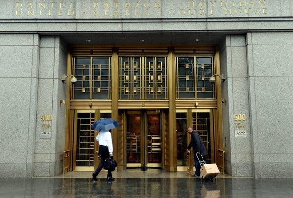 An entrance to the federal courthouse in New York, where a judge handed down a permanent injunction against Apple in the e-books price-fixing case.
