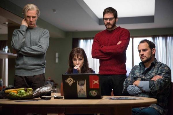 """Benedict Cumberbatch, from left, Carice van Houten, Daniel Brühl and Moritz Bleibtreu in """"The Fifth Estate."""""""