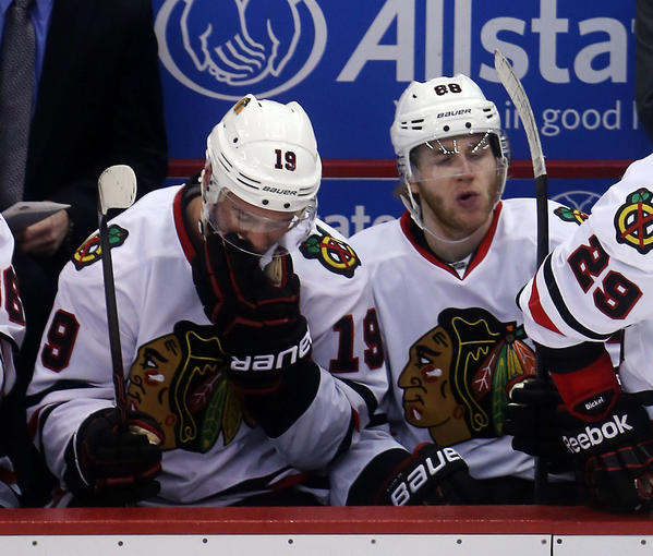 Chicago Blackhawks center Jonathan Toews (left) and Patrick Kane during the Stanley Cup playoffs.