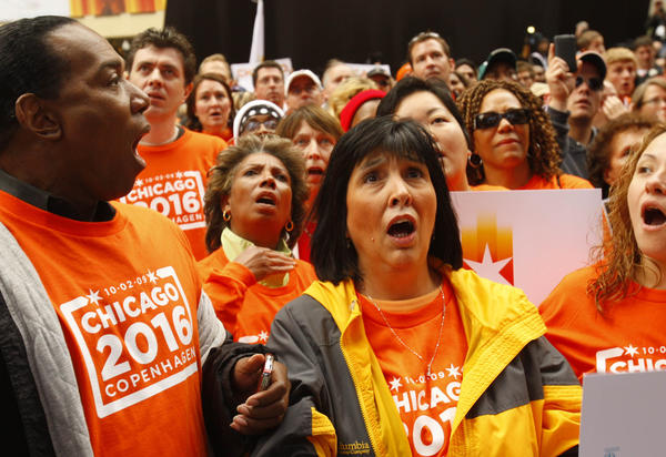 Chicagoans react in 2009 after hearing word from Copenhagen that Chicago was eliminated in its bid to host the 2016 Summer Olympic Games.