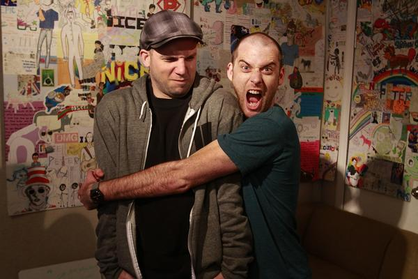"""YouTube personalities Lloyd Ahlquist (EpicLLOYD), left, and Peter Shukoff (Nice Peter), the creators of """"Epic Rap Battles of History,"""" will seek to take advantage of Blip's mobile and Web technology."""