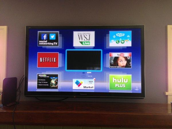 The 55-inch Panasonic Viera TV we bought with the money we saved from ditching cable service.