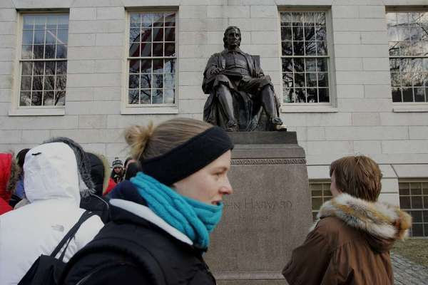 "A statue of John Harvard that appears to preside over Harvard Yard is known as the ""statue of three lies."""