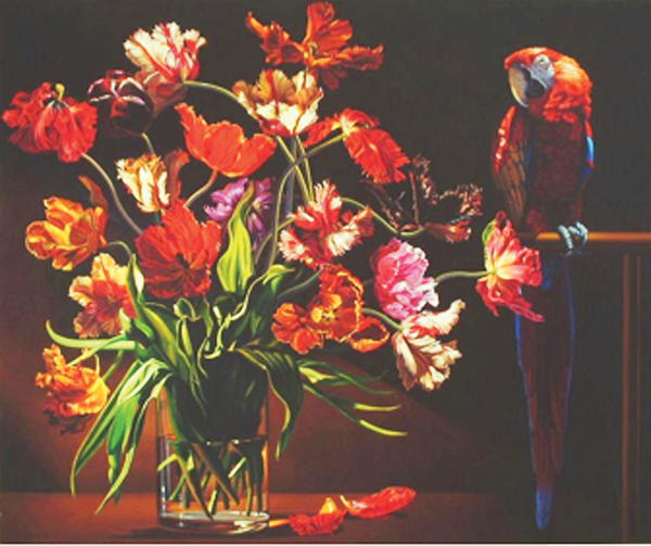 Parrot Tulips with Red Macaw by Ian Hornak will be on display at the Washington County Museum of Fine Arts.