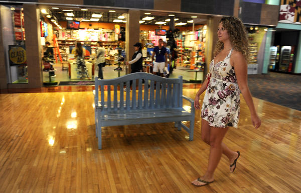 "Hanover, MD--Sept. 4, 2013--Liz DeRubertis, 26 of Ellicott City, strolls through the Arundel Mills Mall this afternoon. She is one of the ""Generation Y"" shoppers who were there today. staff photo/ Barbara Haddock Taylor/Baltimore Sun"