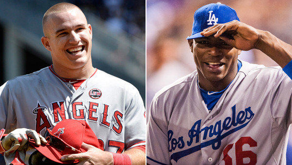 Angels outfielder Mike Trout, left, and Dodgers rookie Yasiel Puig could be the greatest baseball duo to grace a city since Mickey Mantel and Willie Mays established their enduring legacies in New York.