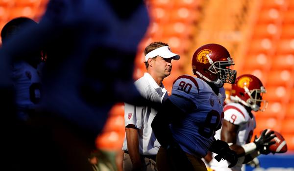 USC Coach Lane Kiffin hasn't revealed who will take the first snap for the Trojans when they play in their home opener against Washington State on Saturday.