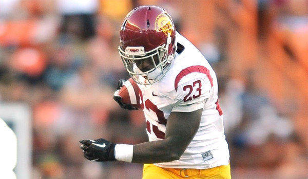 USC running back Tre Madden carried the ball 18 times for 109 yards for the Trojans in the school's 30-13 victory over Hawaii on Aug. 29, 2013.