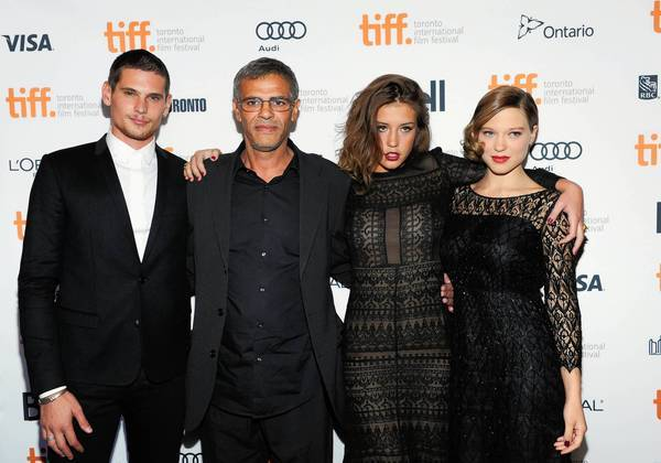 "Jeremie Laheurte, left, director Abdellatif Kechiche, Adele Exarchopoulos and Lea Seydoux attend the ""Blue Is the Warmest Color"" premiere at the Toronto International Film Festival."