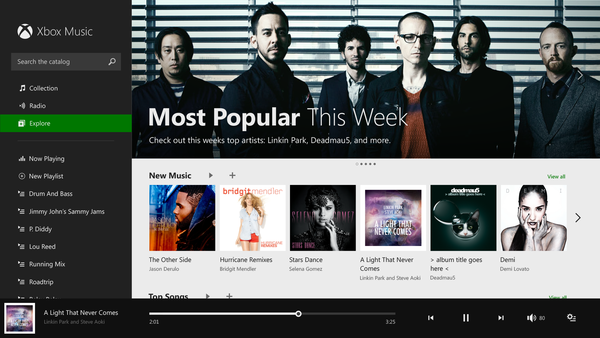 Xbox Music's Web player.