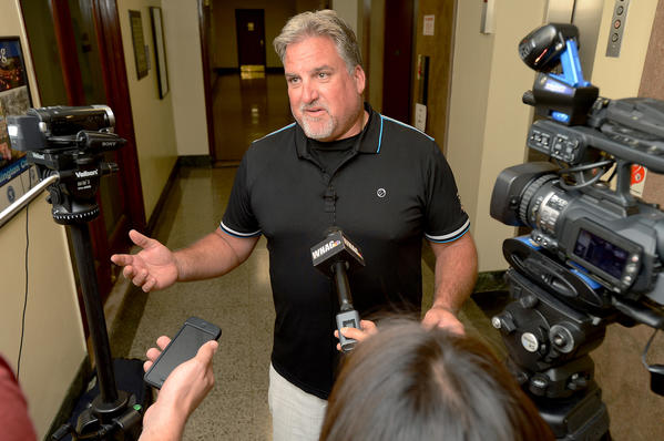 Hagerstown Suns majority owner Bruce Quinn spoke with the media after his meeting Friday afternoon with Hagerstown City officials.