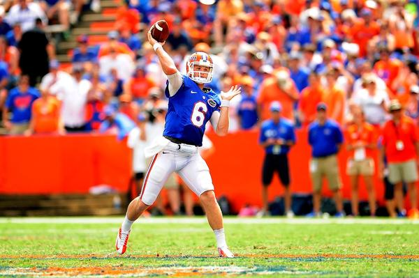 Florida's Jeff Driskel drops back to pass against Toledo.
