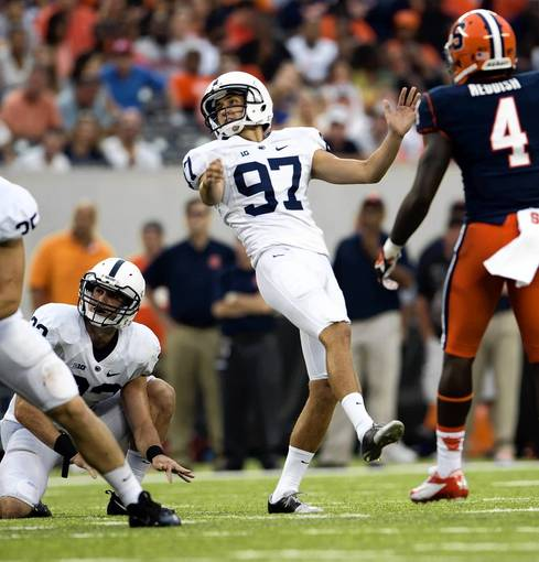Penn State Nittany Lions kicker Sam Ficken (97) kicks a field goal against the Syracuse Orange at MetLife Stadium in East Rutherford, NJ, on Saturday August 31, 2013.