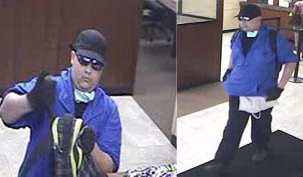 Surveillance photos of a man who robbed a bank in Evanston on Friday.