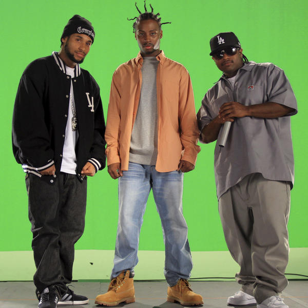 "Young Dirty Bastard, left, Derrick ""E3"" Wright, and Eric ""Lil Eazy-E"" Wright."